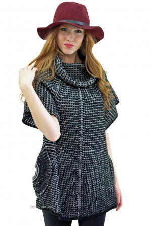 Crystal Sweater Shirt Dress Tunic In Black & White
