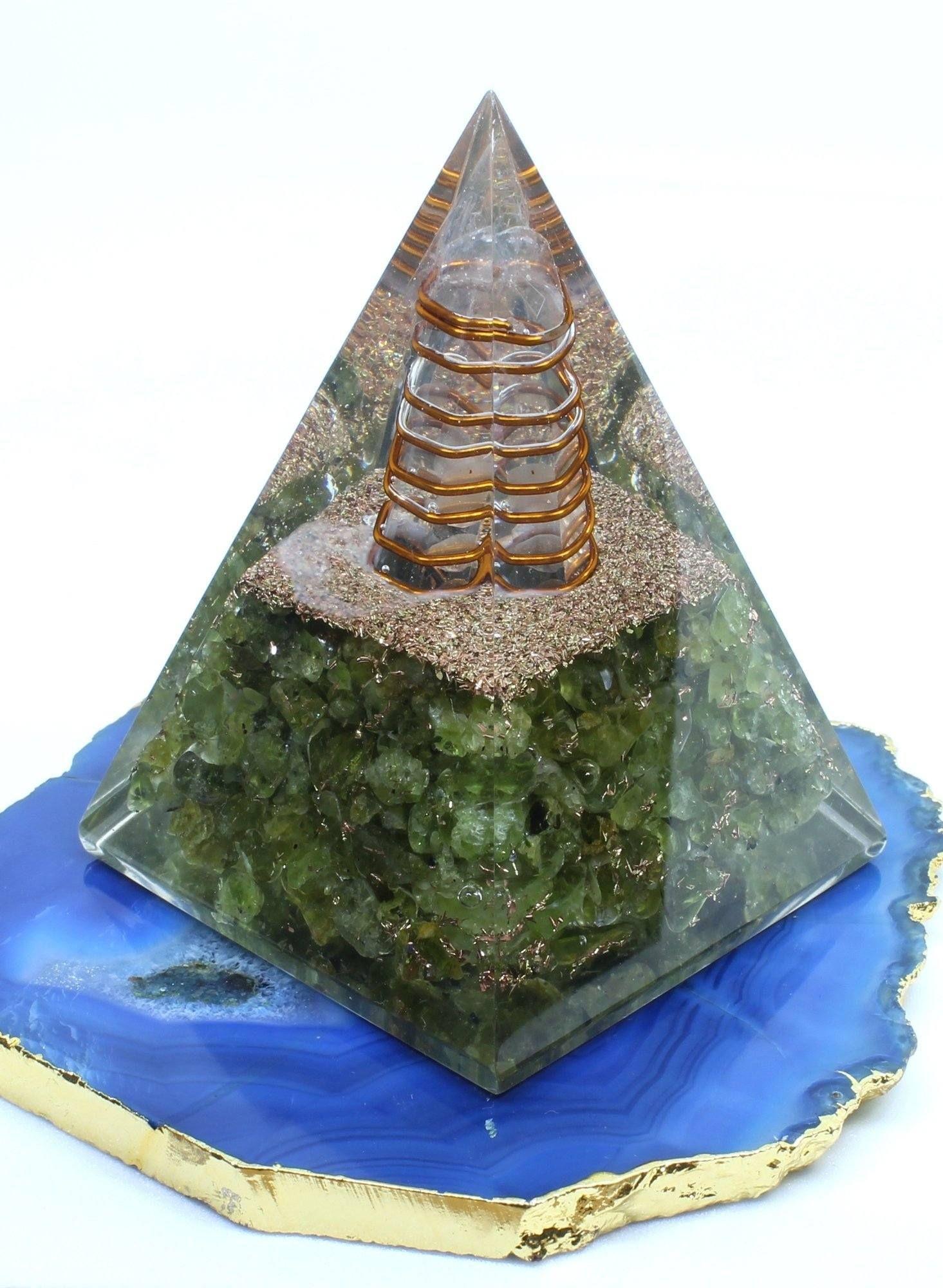 Orgone Nubian Peridot Energy Pyramid Orgonite Crystal Energy Pyramid Orgonite Orgone Energy