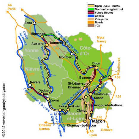 Burgundy Cycling Tours, Biking, Bicycle Vacations, Cycling Maps, Routes, Tours France