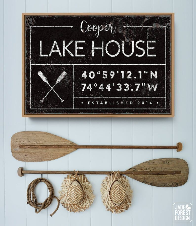 Photo of custom LAKE HOUSE canvas, farmhouse last name sign for lakehouse, personalized GPS location coordinates, rustic white vintage nautical decor