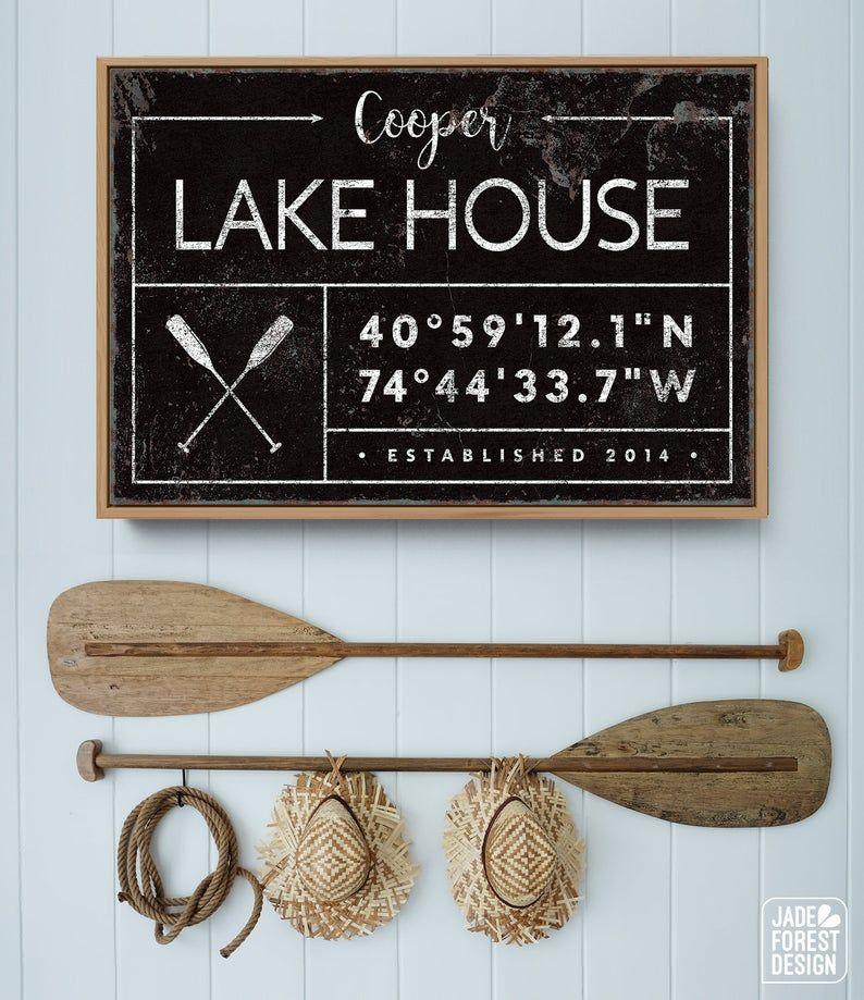 Photo of custom LAKE HOUSE canvas, farmhouse last name sign for lakehouse, personalized GPS location coordinates, rustic white vintage nautical decor