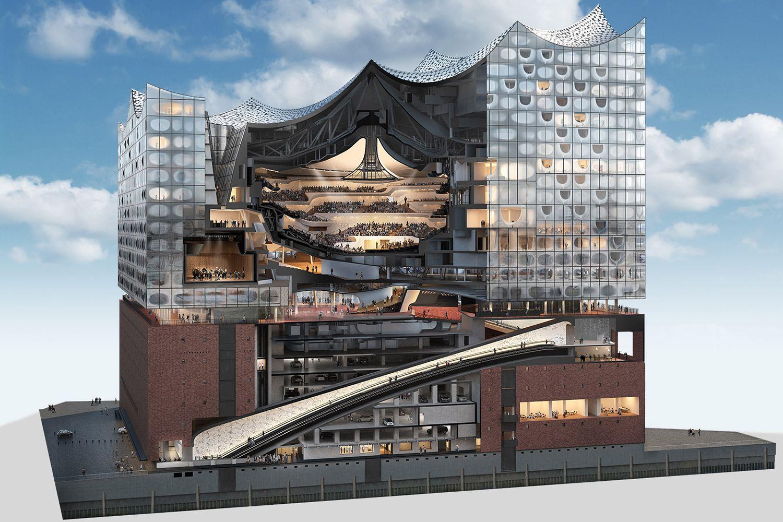 Go On A Drone Tour Of The Insane 820 Million Hamburg Elbphilharmonie Concert Hall Architecture Concert Hall Architecture Architecture Design