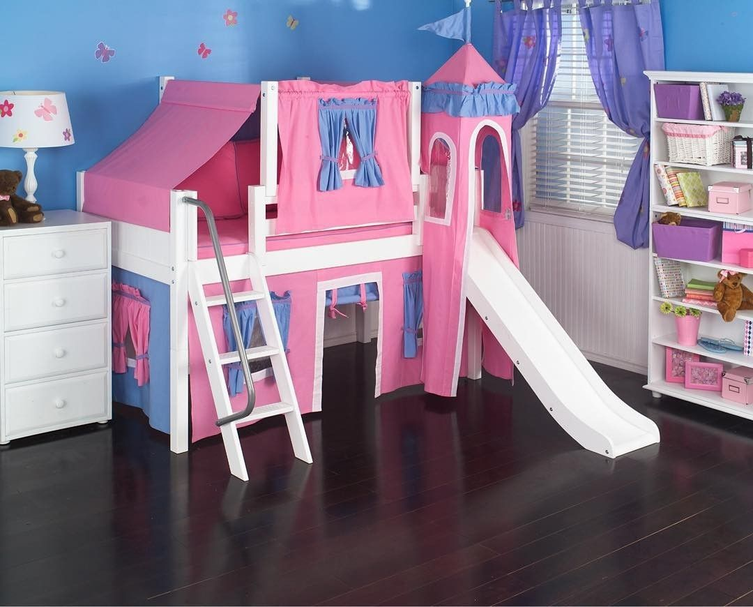Girls loft bed with slide  Butterflies u beautiful hues This castle bed by