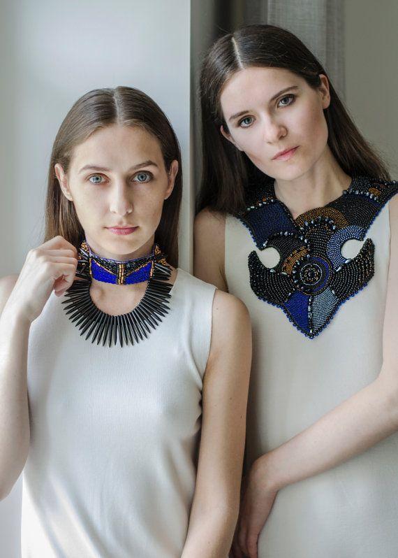 Haute couture jewelry oversized black blue statement Pinterest