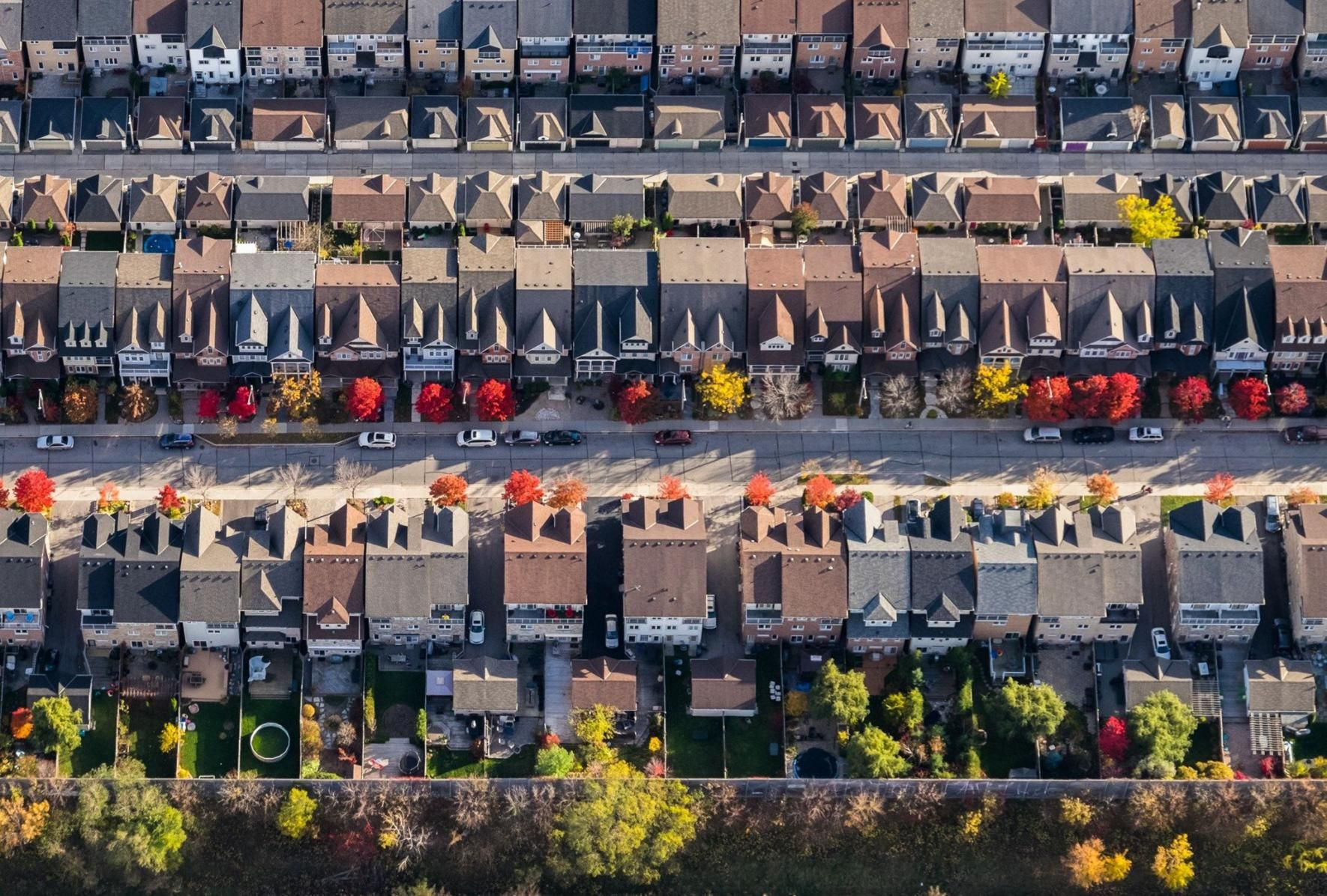 Rows of houses seen from above
