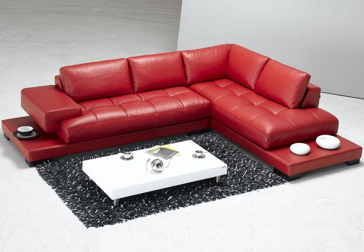 Astonishing Tosh Furniture Modern Red Leather Sectional Sofa Rsf Red Machost Co Dining Chair Design Ideas Machostcouk