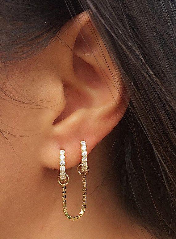 907c0f56b0364 Hoop Earrings - Huggie Earrings - Hoop Chain Earrings - Dangle ...