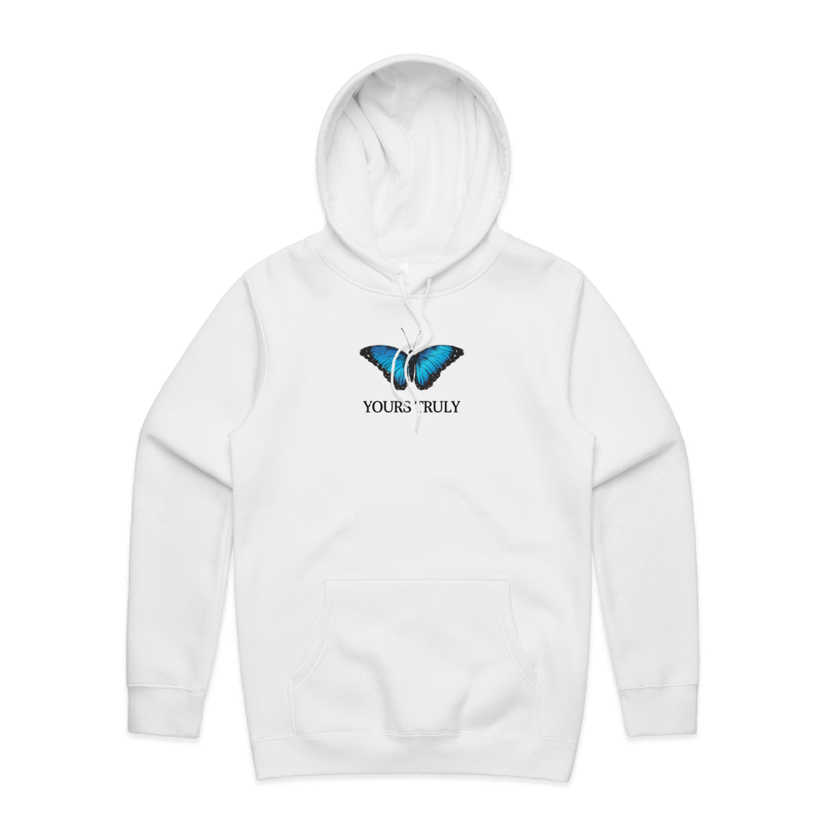 Yours Truly Blue Butterfly Hoodie White Yours Truly Clothing Hoodies White Hoodie Yours Truly Clothing