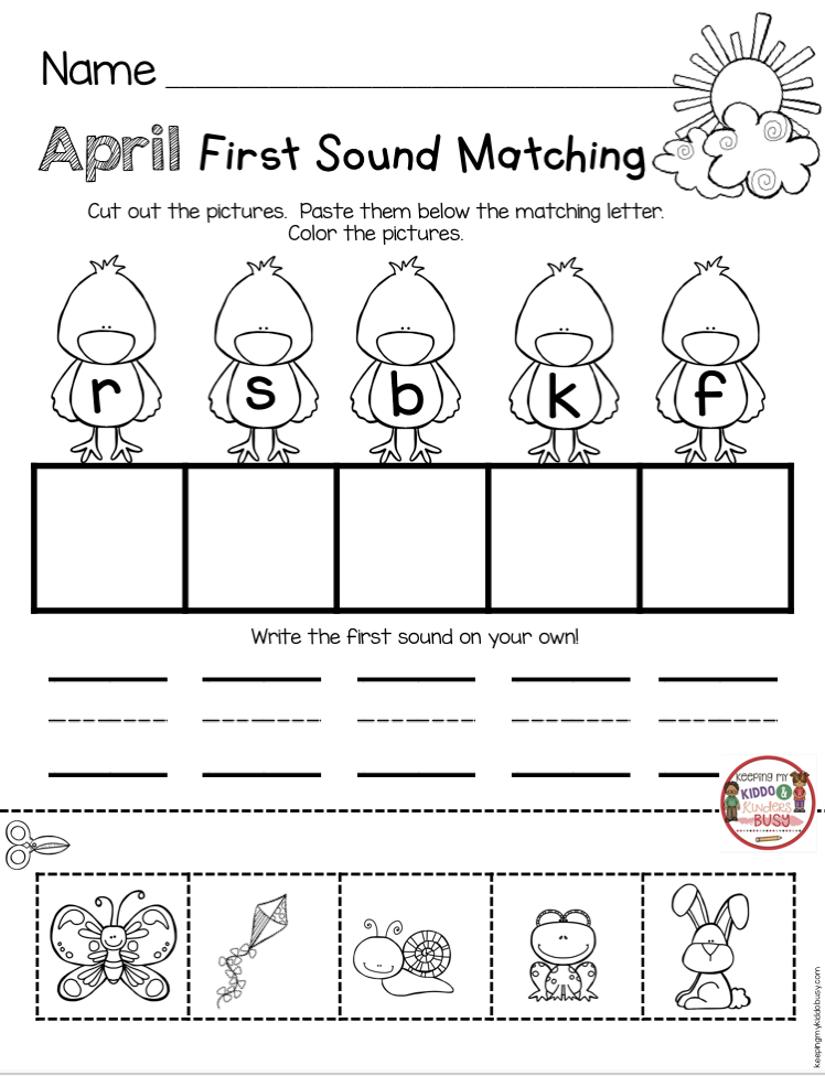 April In Kindergarten Free Worksheets Keeping My Kiddo Busy Free Kindergarten Worksheets Kindergarten Freebies Kindergarten Worksheets