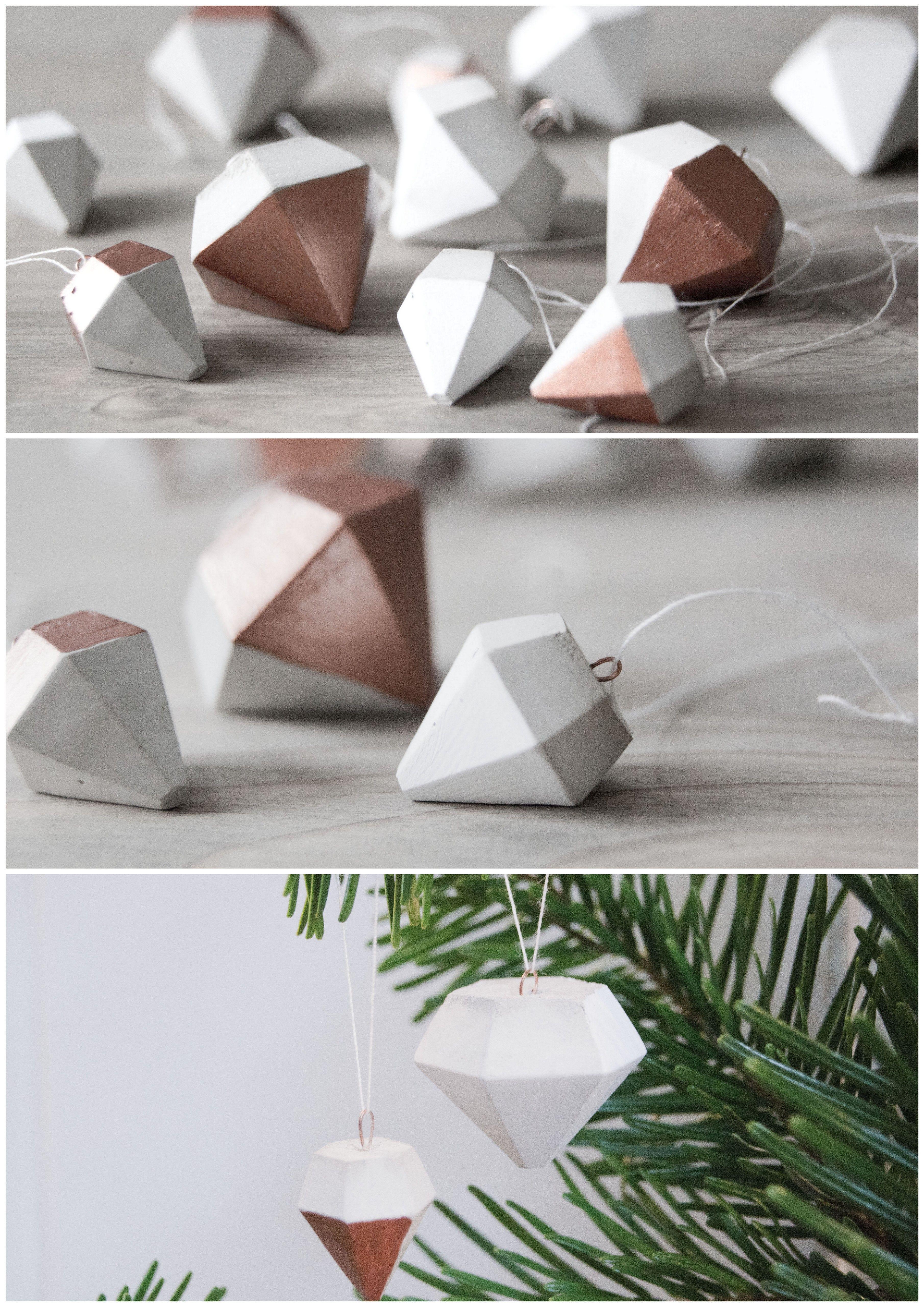 diy christbaum-diamant-hänger aus beton // diy concrete christmas