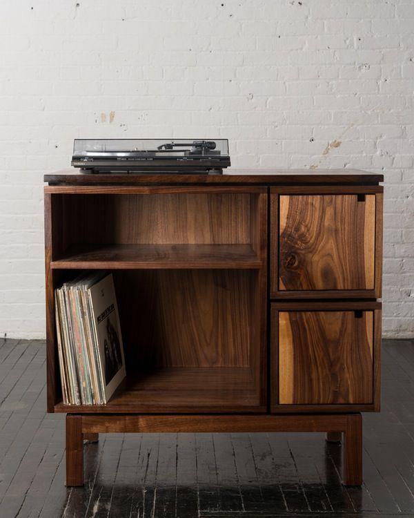Walnut Record Player Stand Record Player Stand Vinyl Record Furniture Vinyl Record Storage