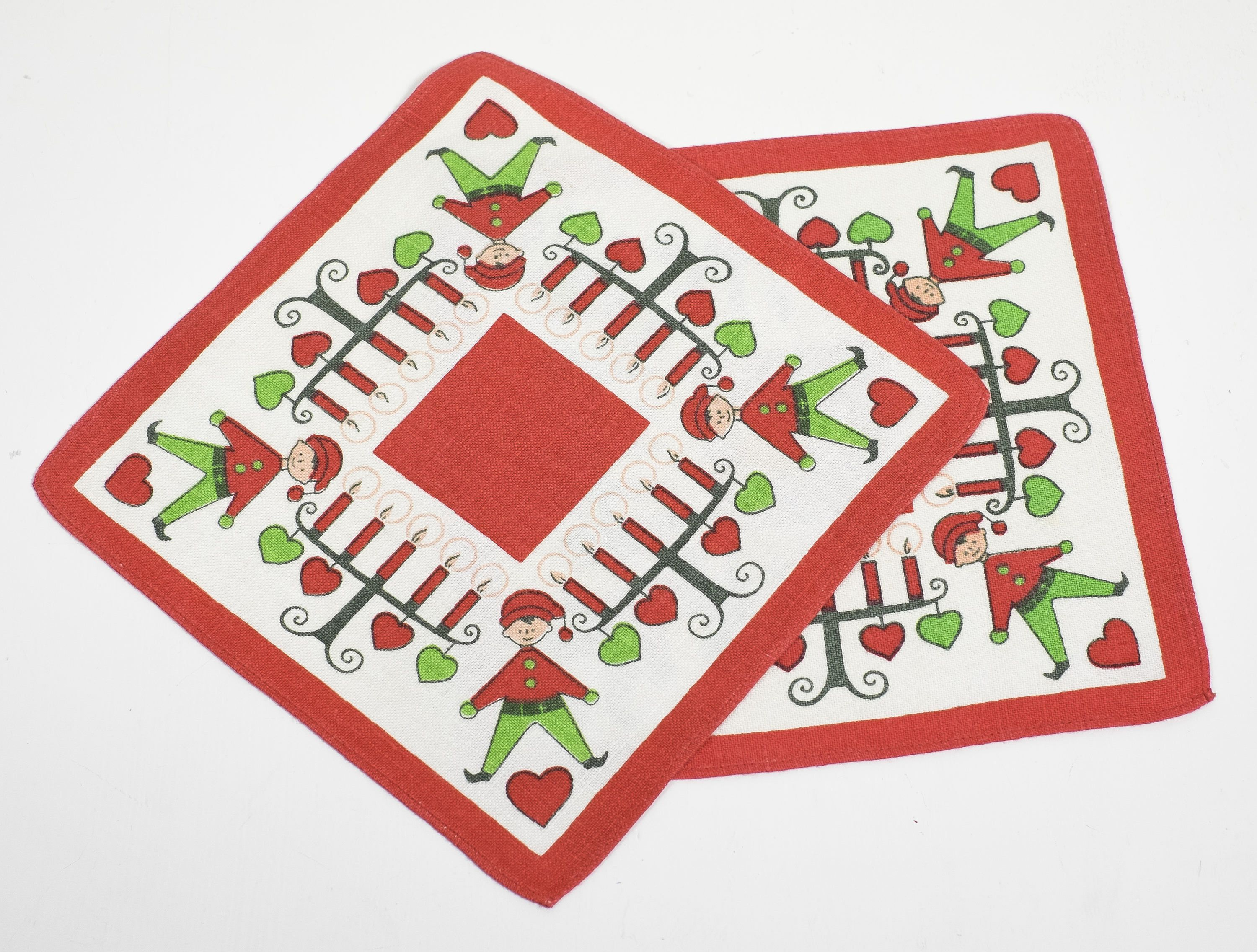 Set of 2 Swedish Vintage Christmas Tablecloth by Ulla Scheuer Tomte