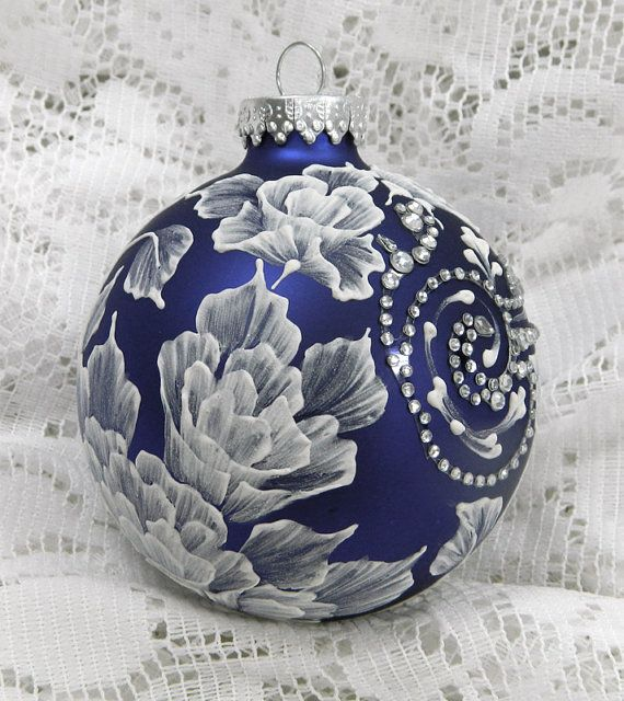 Royal Blue Christmas Ornaments Part - 40: Royal Blue Christmas Ornament With Hand Painted MUD 3D Flowers And  Rhinestone Bling 51