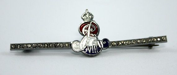 Edward VIII Rhinestone and Enamel Coronation Pin by LivedInVintage, $35.00