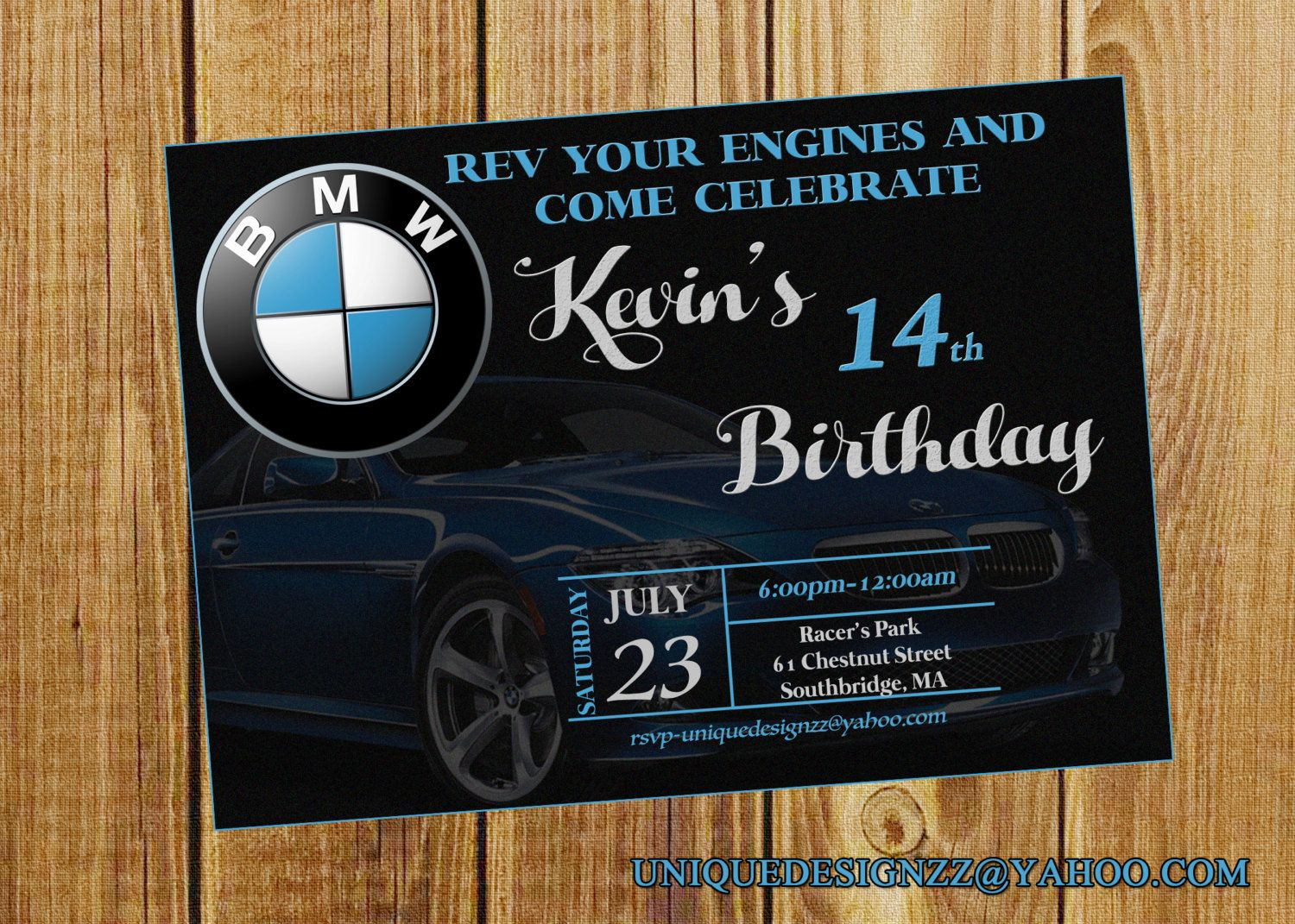 Bmw Birthday Invitation By Uniquedesignzzz On Etsy