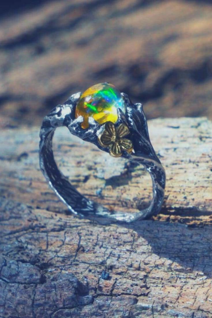Sterling Silver Ethiopian Fire Opal Ring Firefly Fire Opal Ring Fire Opal Opal Rings