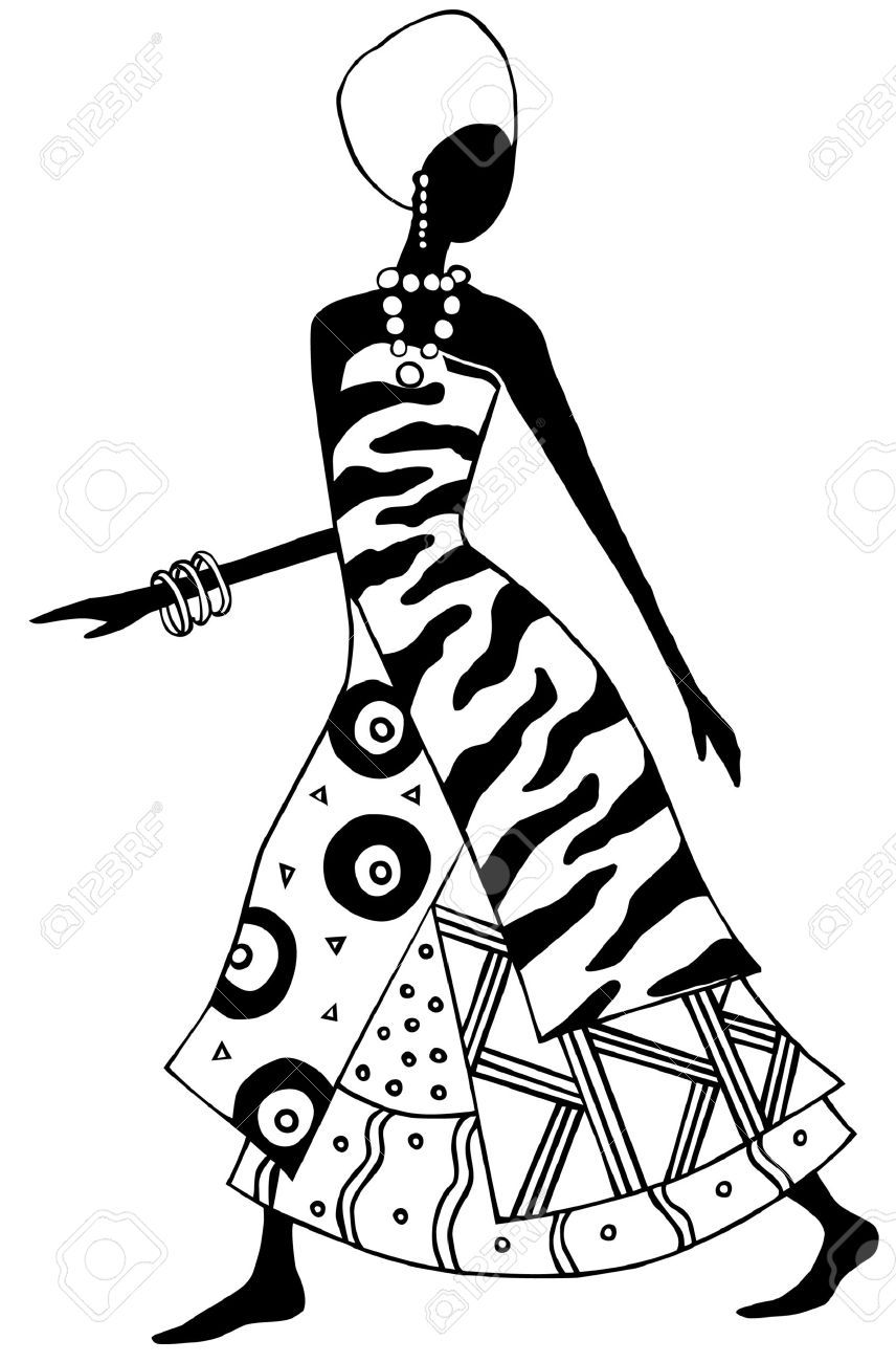 Black and white african woman vector stock vector 2644216