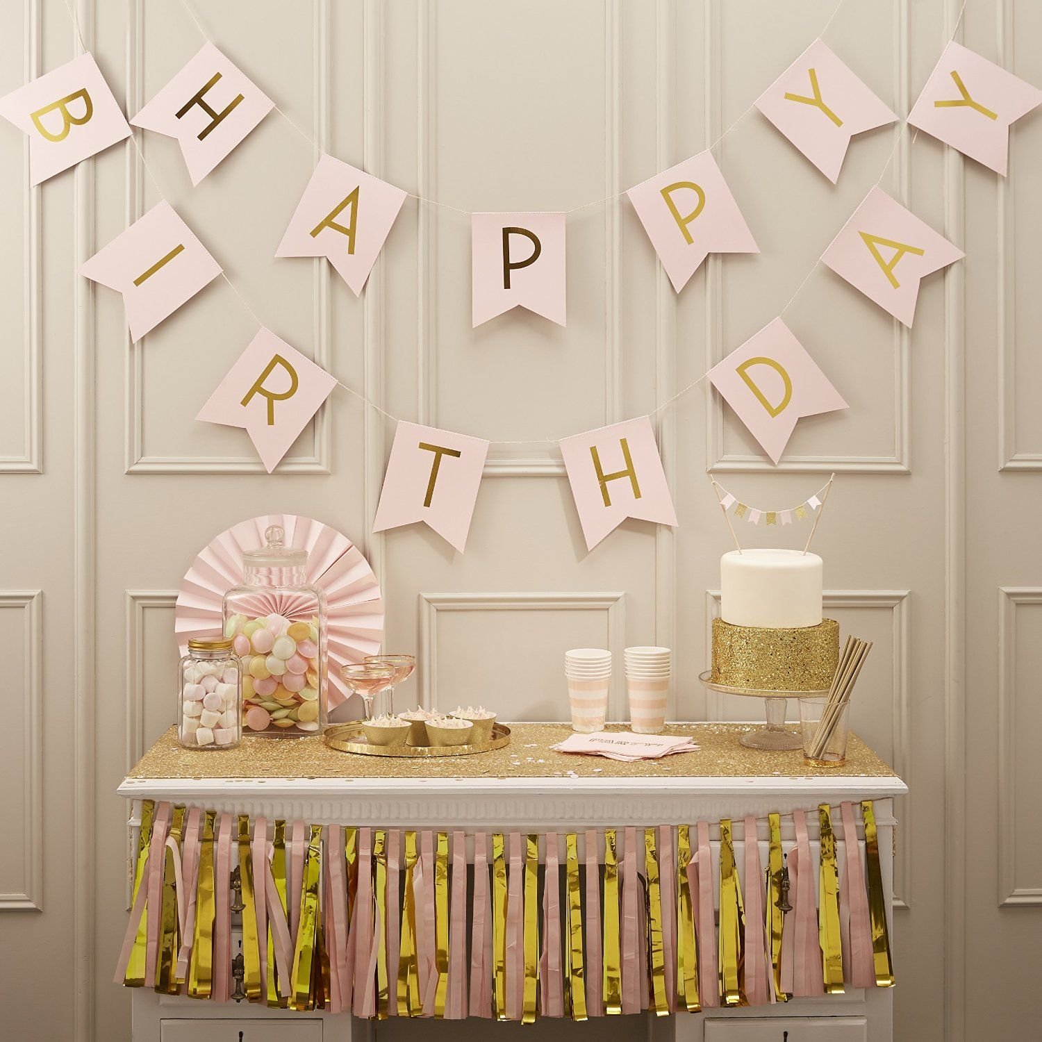Amazon Ginger Ray Pastel Perfection And Gold Foiled Happy Birthday Bunting Banner Pink Kitchen Dining