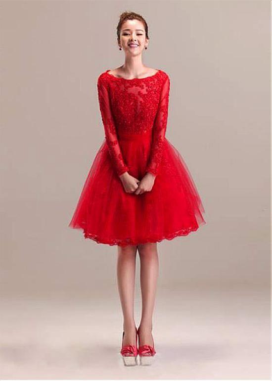 c5dac23489e Chic Tulle Bateau Neckline Knee-length A-line Homecoming Dress ...