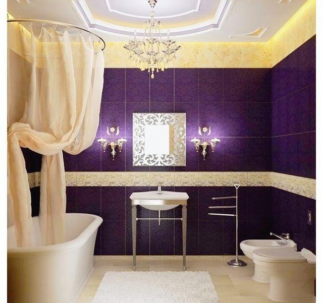 Purple And Gold Restroom Bathroom Design Luxury Bathroom