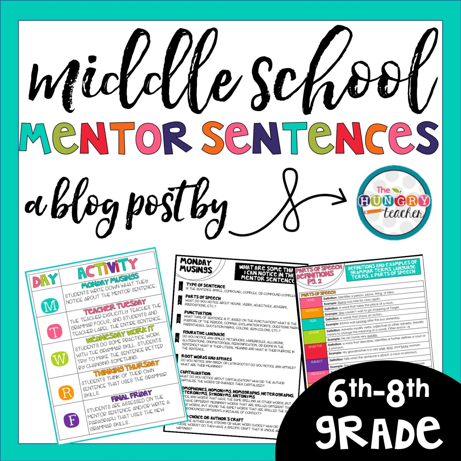 Using Mentor Sentences to Teach Grammar in Middle School is part of Mentor sentences, Middle school writing, Teaching grammar, Teaching middle school, Middle school grammar, Middle school reading - I recently just finished my first set of Middle School Mentor Sentences  As I've started talking about and posting about Mentor Sentences, I've realized that most teachers fall into the following categories when it comes to implementing mentor sentences 1  I have no idea what mentor sentences are, but I am intrigued now  2  I …