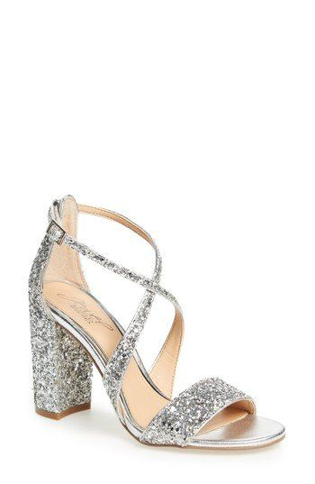 fc861724c25 A glitter-encrusted block heel brings trend-right appeal to a gorgeously  sparkly sandal bridged with tapered