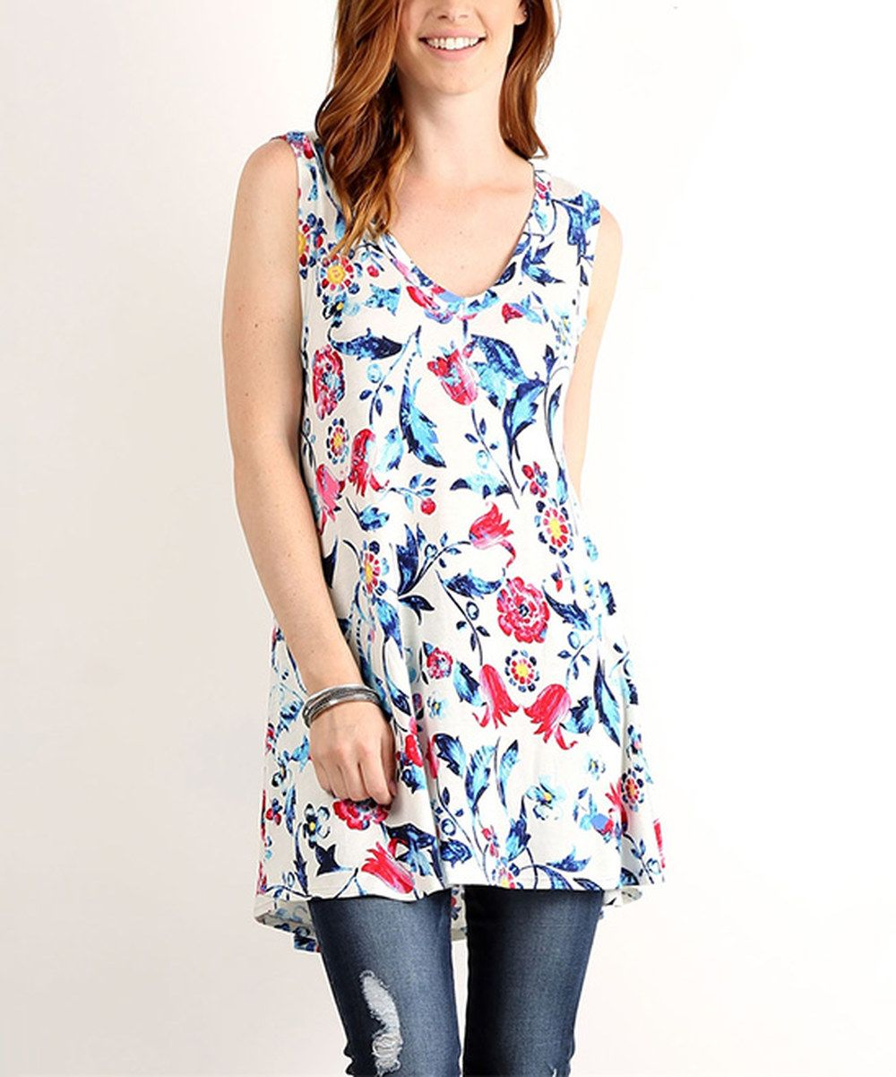 Look at this LARA Fashion Blue Floral Swing Tank on #zulily today!