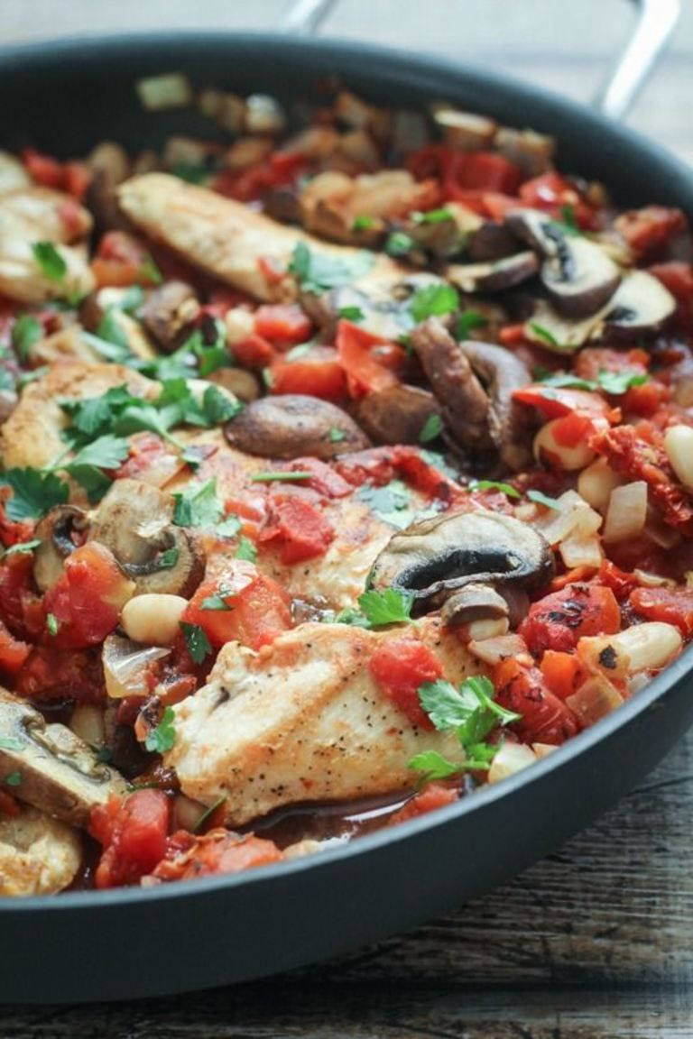 Tuscan Style Skillet Chicken With Mushrooms White Beans And Sundried Tomatoes One Pan 45