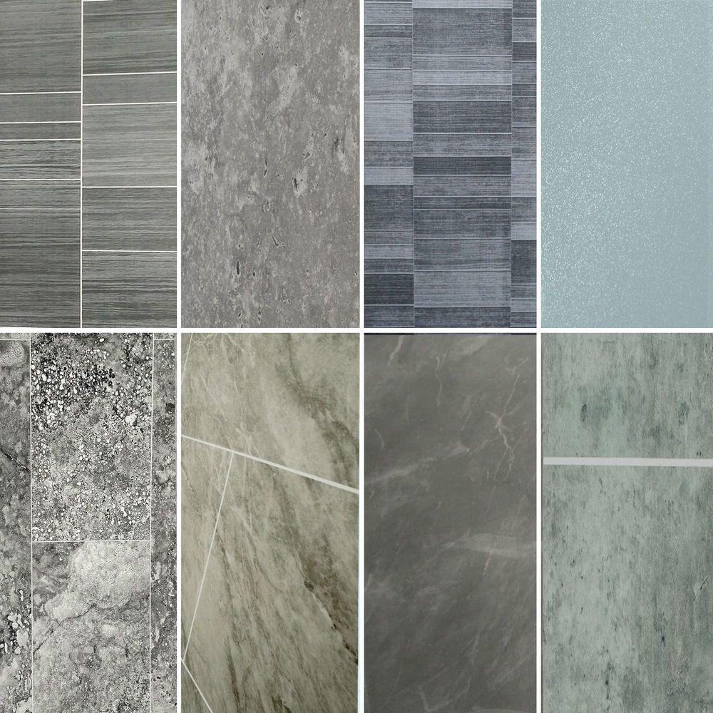 Grey Bathroom 8mm Thick Wall Panels Pvc Tile Effect Marble Cladding Splash Backs Ebay Cladding Wallpaper Cladding Plastic Shower Wall Panels