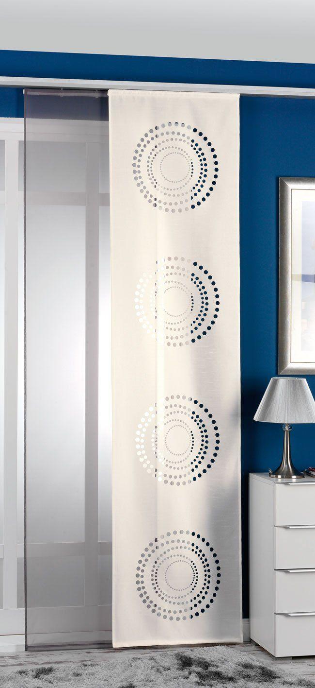 2er pack schiebegardine fl chenvorhang schiebevorhang paneelwagen beschwerungs creme grau. Black Bedroom Furniture Sets. Home Design Ideas