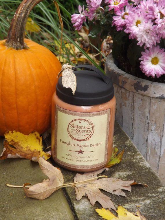 26 oz Soy Wax Pumpkin Apple Butter Jar by SisterswithScentsSoy, $22.00
