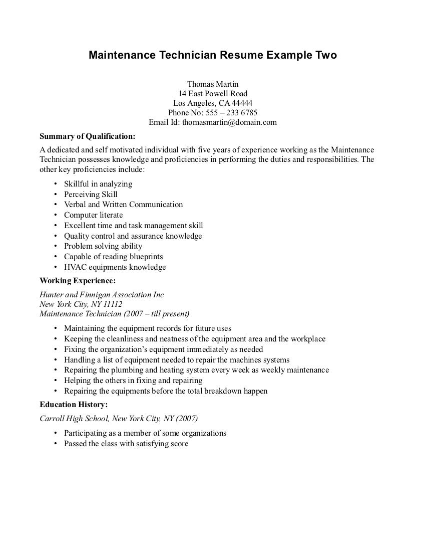 maintenance technician resume httpwwwresumecareerinfomaintenance - It Technician Resume