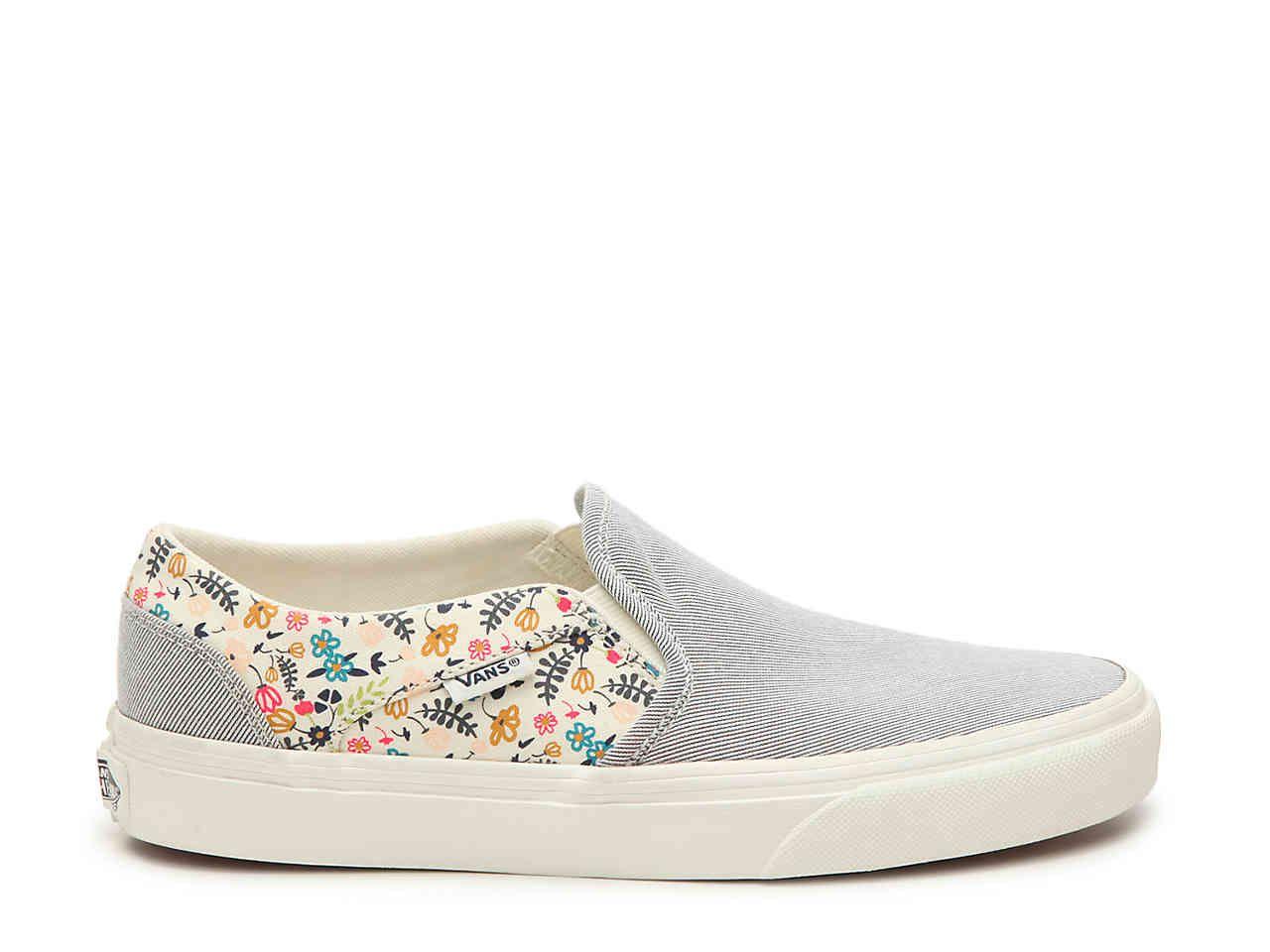 Vans Asher Stripe Floral Slip-On