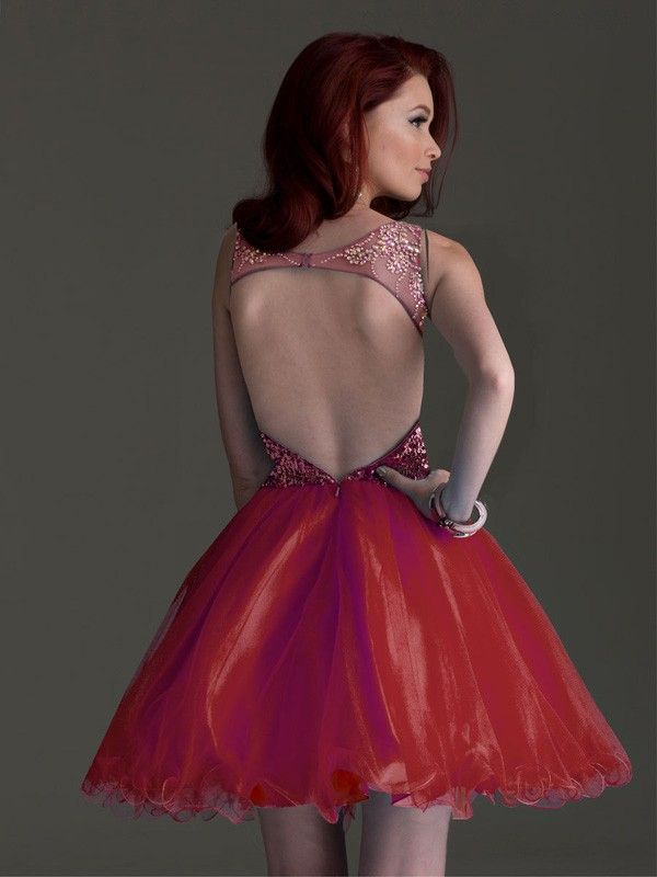 A-line/Princess Straps Sleeveless Beading Short/Mini Tulle Dresses
