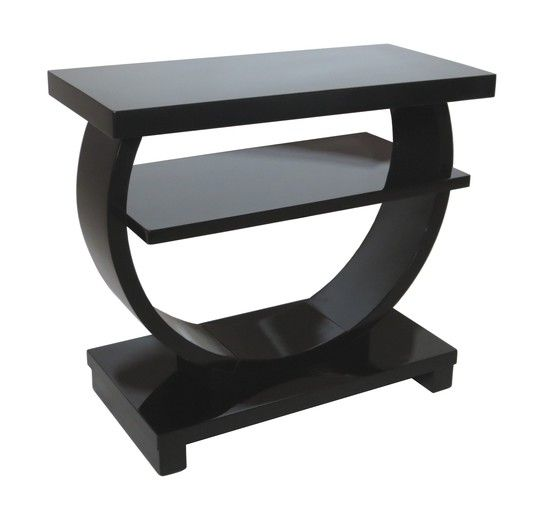 Modernage American Art Deco Black Lacquer Side Table Short Round