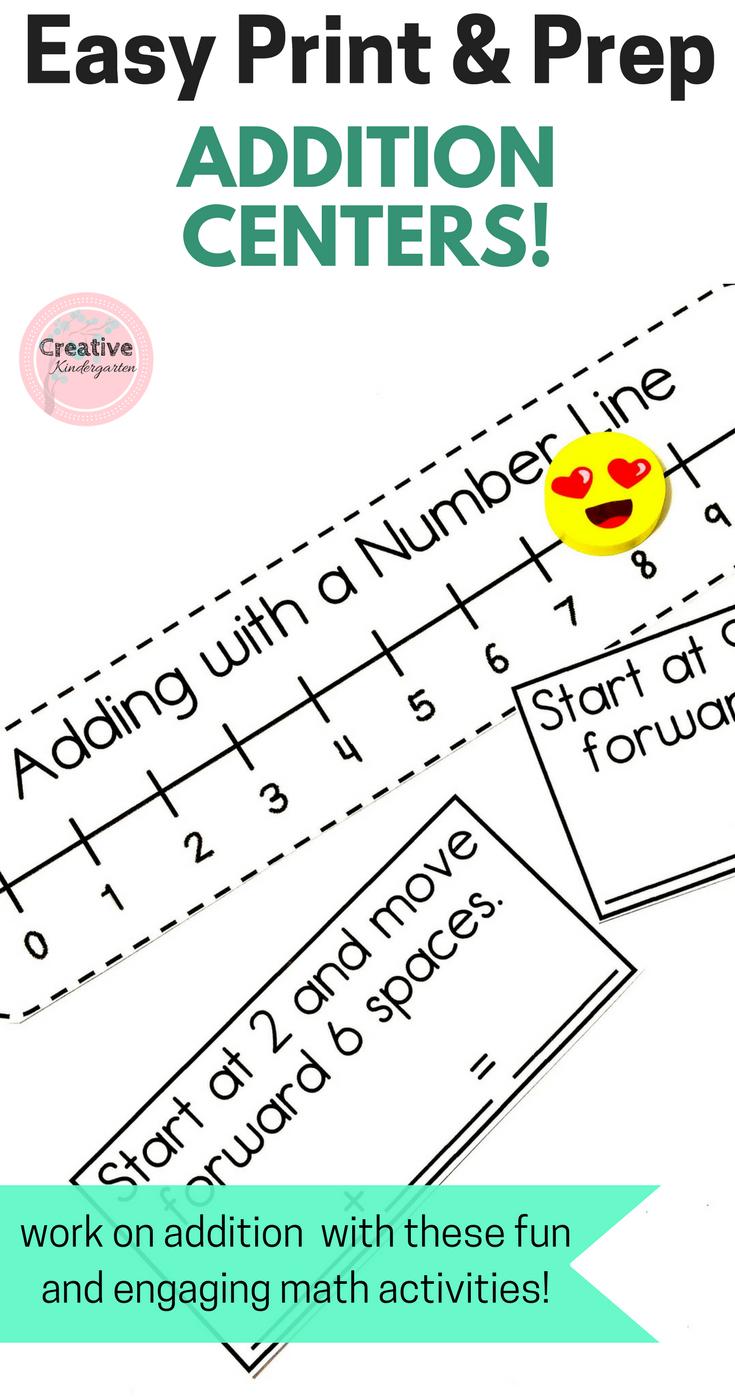 Easy Print & Prep Kindergarten Math Centers: Addition! Endlessly ...