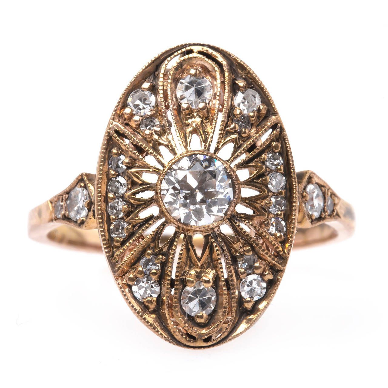 Trumpet Horn Peachtree Gold Ring From A Unique Collection Of Vintage Engagement Rings Vintage Engagement Rings Edwardian Engagement Ring Antique Gold Rings