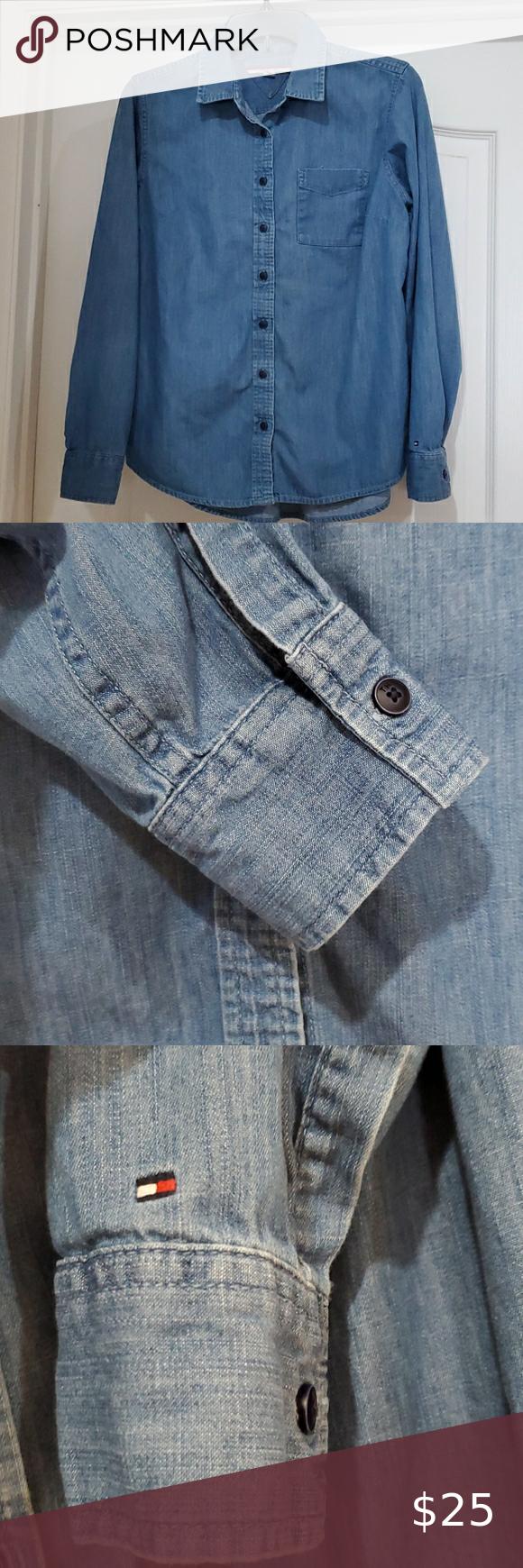 Vintage Large Size Denim Skirt Womens Shirt Embroidered Denim Shirt Long Sleeve Button Up Cotton Shirt Vintage Chic Blouse Khaki Denim Shirt