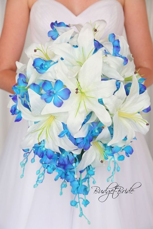 Blue Orchid cascading teardrop wedding bouquet with white ...