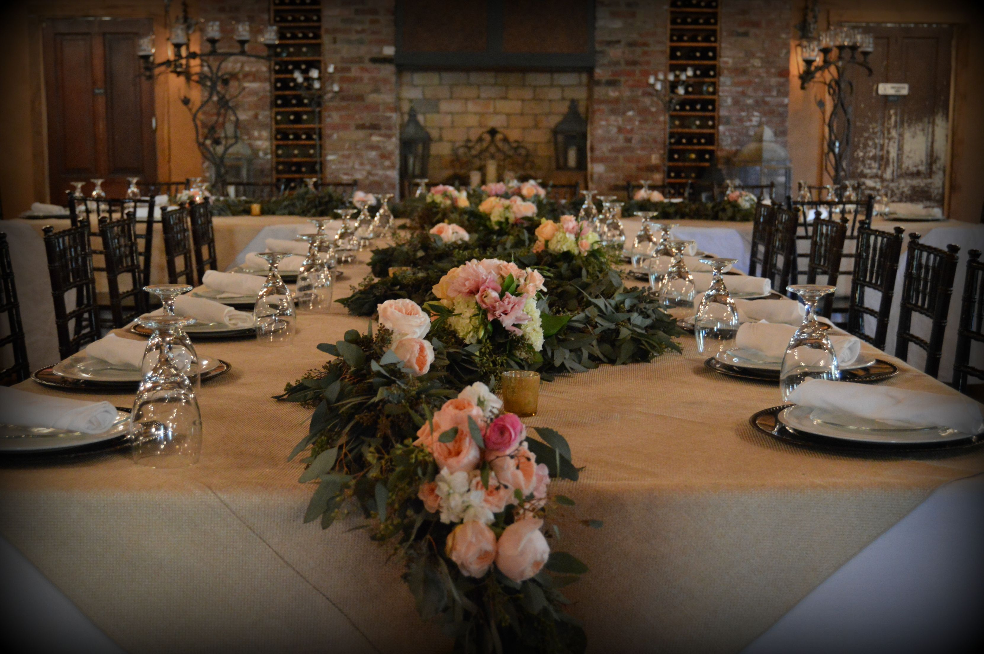 Seeded Eucalyptus garland with garden rose accents | wedding details ...