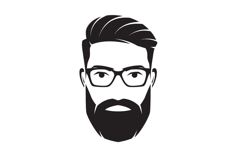 Photo of Bärtiges Männergesicht, Hipster-Charakter. Vektorillustration. von rikkyal auf Creative …