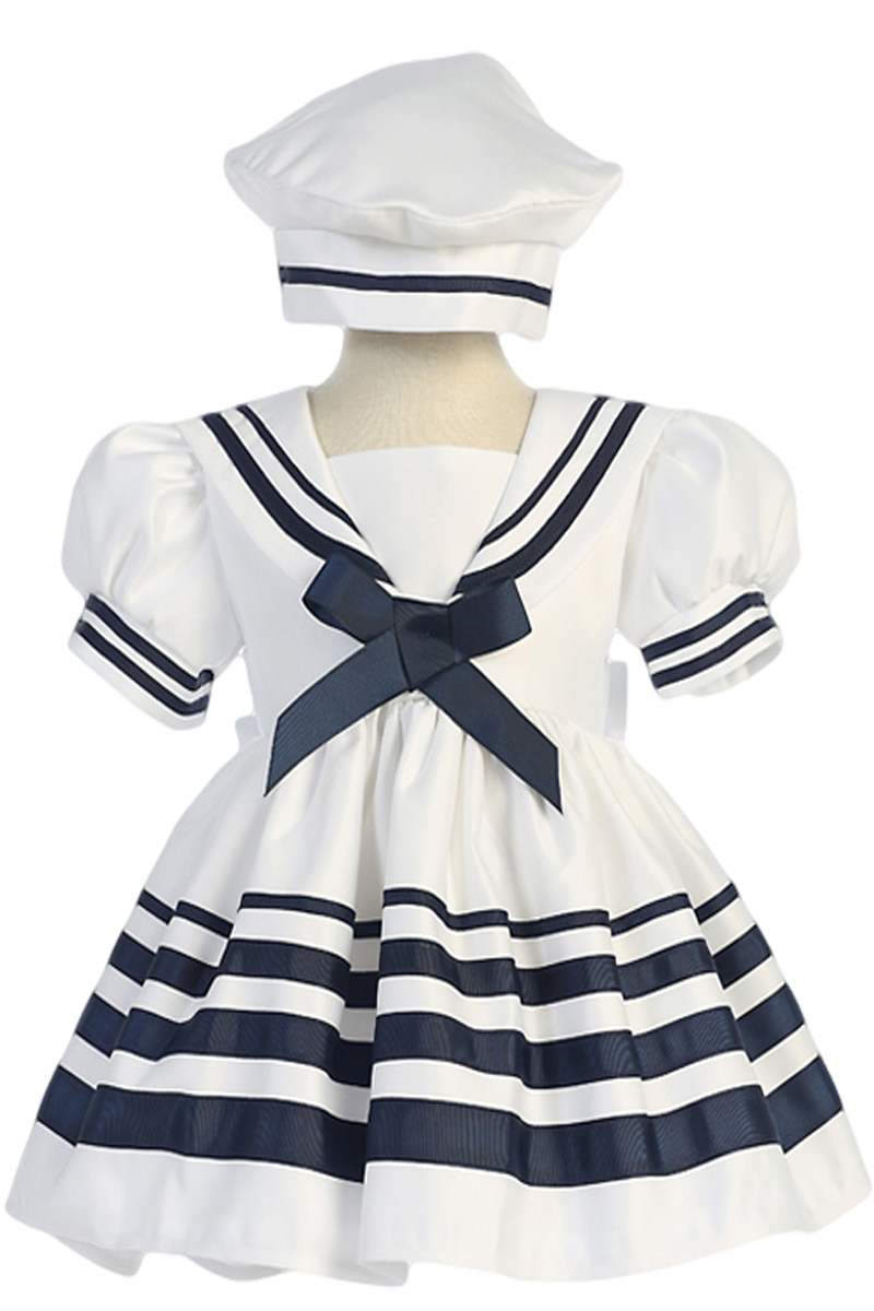 425a70196651a White Nautical Sailor Dress with Navy Blue Trim   Beret Style Hat (Baby    Toddler Girls)