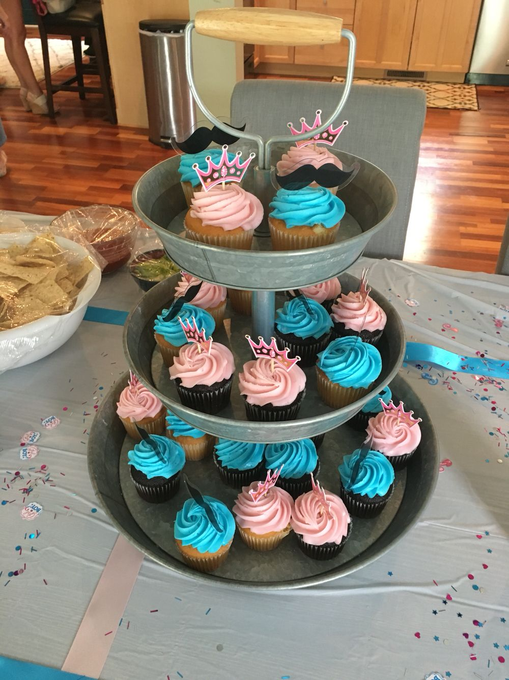 Gender Reveal Party Idea Cupcakes 15 Ordered From Sam S Club Cupcake Picks Mustache And Crowns From Hobby Reveal Parties Gender Reveal Party Cupcake Picks