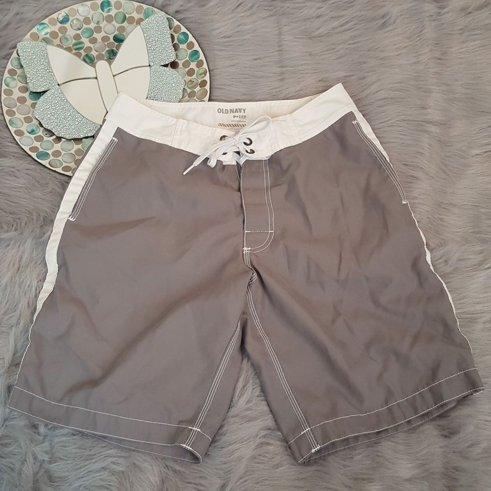 Old Navy Mens Small Gray White Swim Trunks Board Shorts #729   Clothing, Shoes & Accessories, Men's Clothing, Swimwear   eBay!