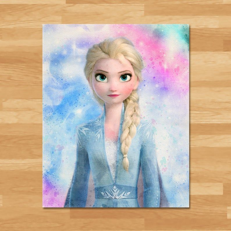 Frozen Watercolor Frozenbirthdayparty Frozen 2 Elsa Watercolor Painting Printable Instant Download Princ Caratulas De Musica Dibujos De Disney Arte Disney