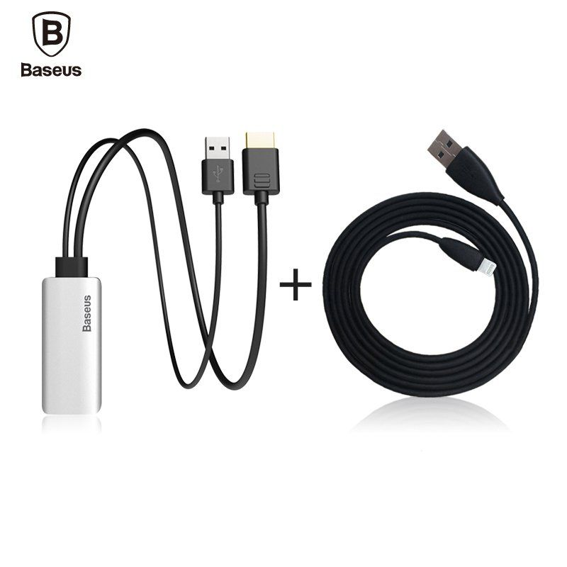 Baseus HD Display Adapter Audio Aux Cable For Lightning Male To Male ...