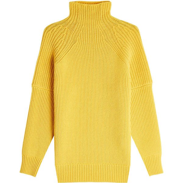 Victoria Beckham Ribbed Wool Turtleneck Pullover (8.375 NOK) ❤ liked on Polyvore featuring tops, sweaters, yellow, wool turtleneck sweater, wool pullover, wool pullover sweater, yellow turtleneck and ribbed turtleneck sweaters