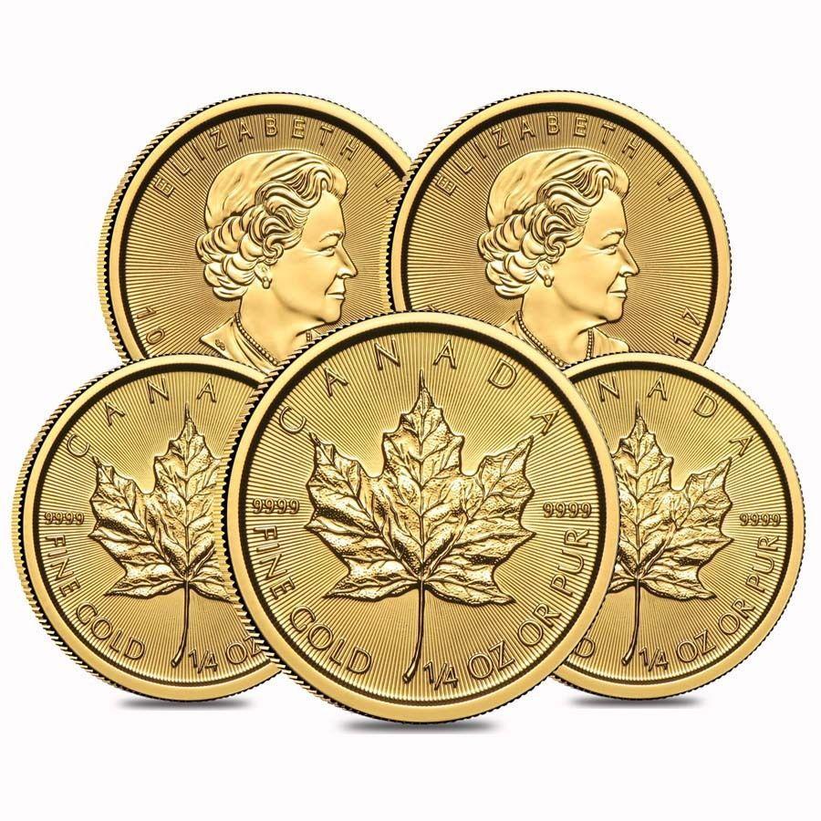Lot Of 5 2017 1 4 Oz Canadian Gold Maple Leaf 10 Coin 9999 Fine Bu Sealed Gold Bullion Coins Gold Bullion American Eagle Gold Coin