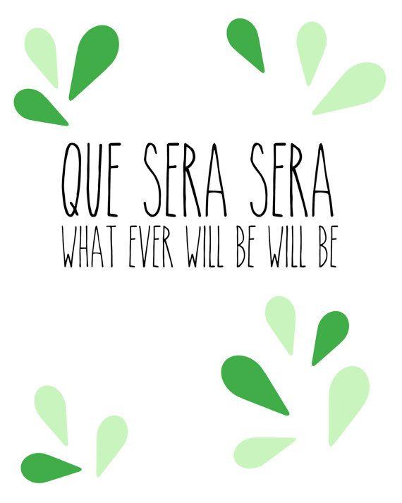 Que Sera Sera  Mint and Green Petals Print