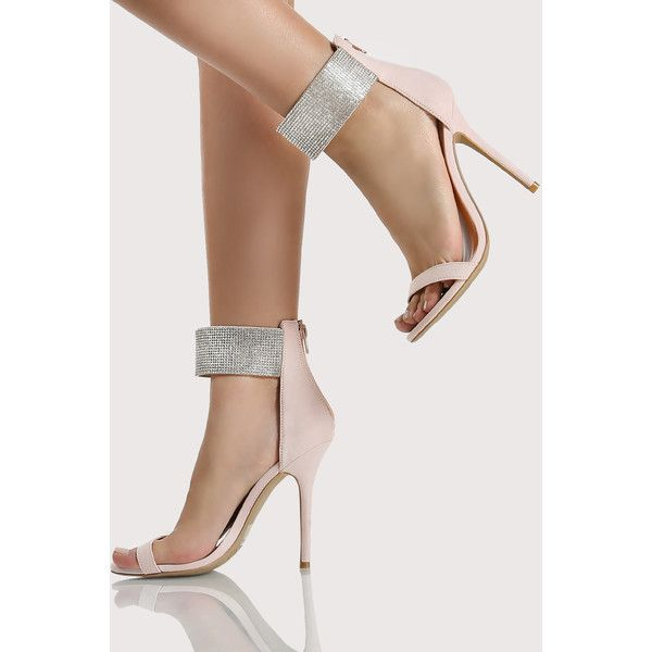 c47b30a03b54 SheIn(sheinside) Diamond Ankle Strap Heels NUDE ( 36) ❤ liked on Polyvore  featuring shoes